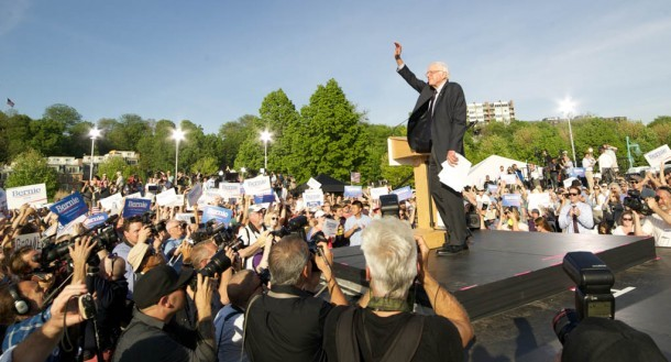 U.S. Sen. Bernie Sanders, I-Vt., waves to thousands of supporters at his campaign kickoff Tuesday at Waterfront Park in Burlington. Photo by John Herrick/VTDigger