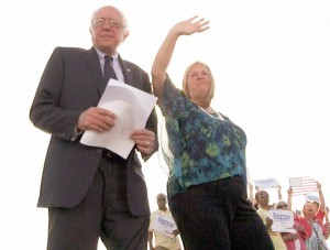 Sen. Bernie Sanders and his wife, Jane O'Meara Sanders greet supporters at Waterfront Park at the launch of Sanders' campaign in May. Photo by John Herrick/VTDigger