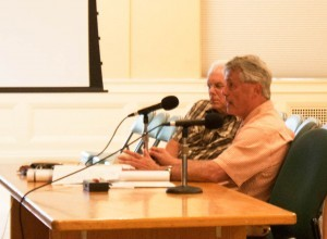 Developer Eric Farrell presents his plans to the Development Review Board for a housing complex on property he purchased from Burlington College. Photo by Sarah Olsen/VTDigger