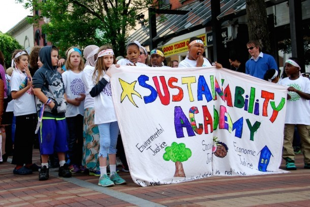 Students from Burlington's magnet schools paraded down Church Street Wednesday. Photo by Elizabeth Hewitt/VTDigger