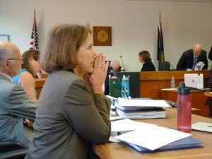 Eileen Simollardes, a vice president at Vermont Gas, waits to testify. Photo by Erin Mansfield/VTDigger