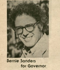 An Bernie Sanders portrait from an undated Liberty Union party newsletter, touting his run for governor (he ran and lost in 1974 and 1976.) Courtesy of the Liberty Union and UVM collections.