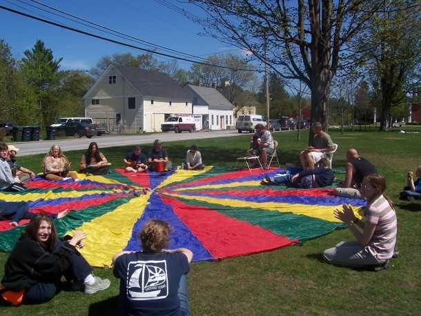 Students from the Montpelier New School play on Vermont College of Fine Arts' green. Courtesy of The New School.