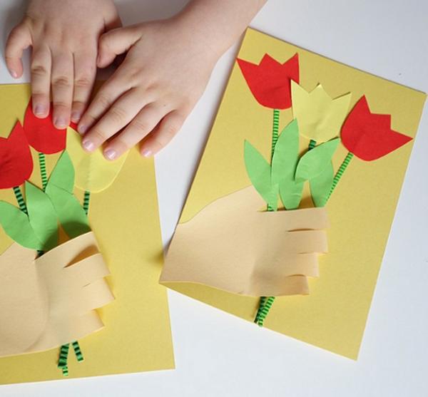 Открытки на 8 марта мамам сделаны руками