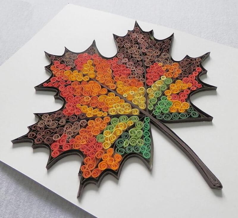 Открытка кленовый лист из полосок, открытки сердечки лет