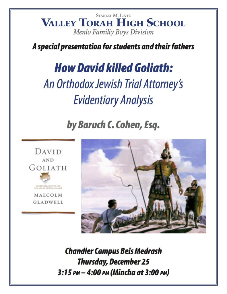 B Cohen Flyer - David and Goliath