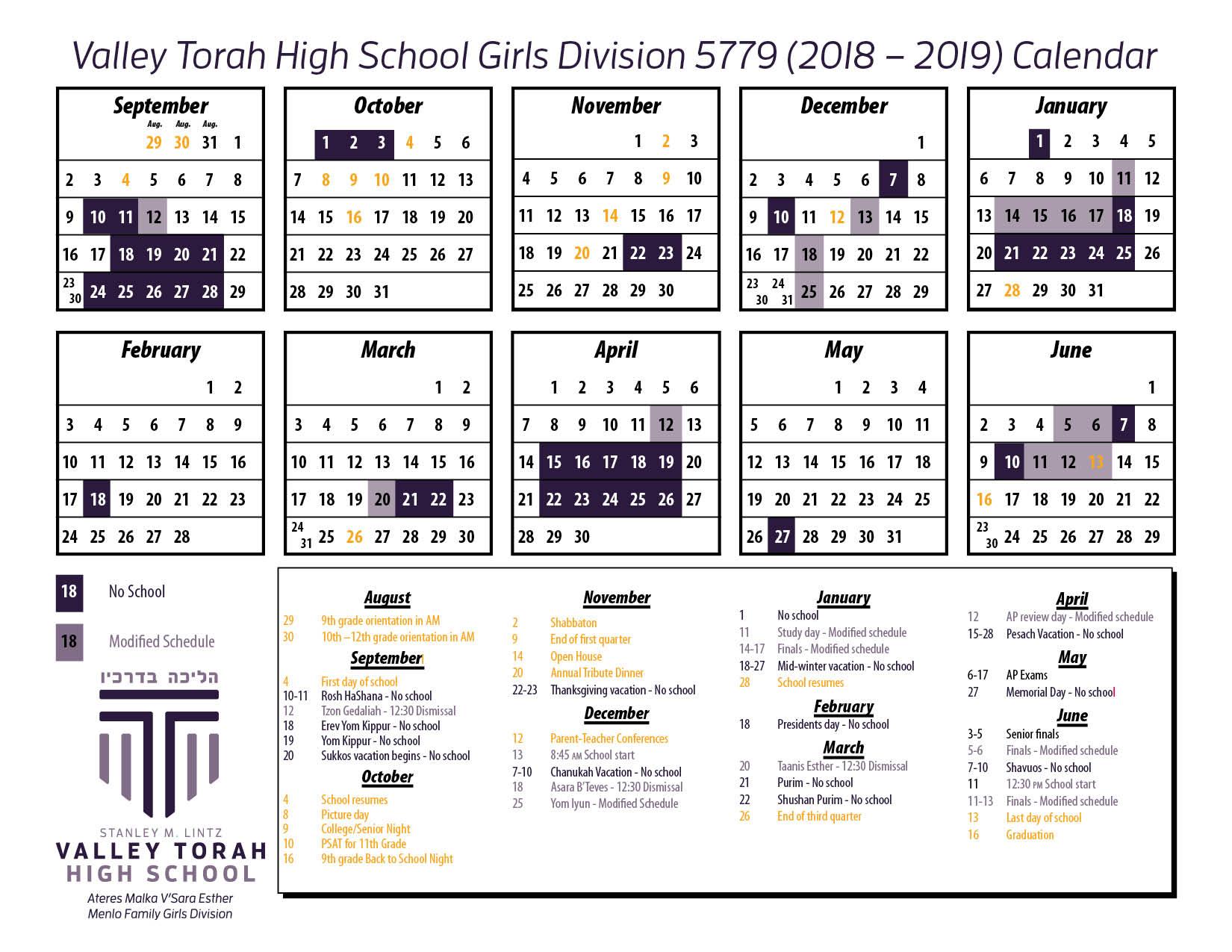 Calendar - Girls 18-19