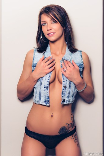Boudoir photos of Riley in denim