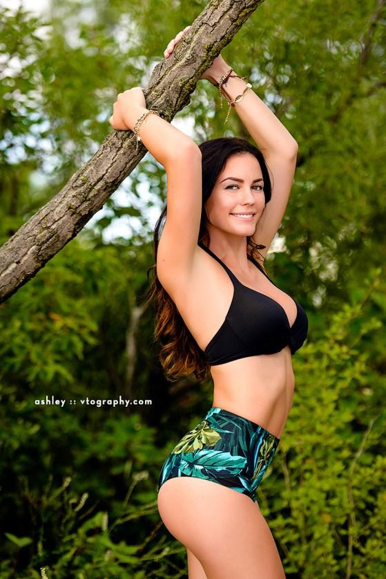 Brunette model Ashley at Hanlan's Point Clothing Optional Beach