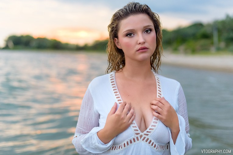 Scarlett in white dress at Nickel Beach