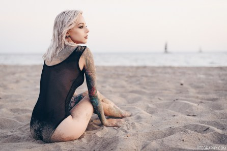 Nova Scotia model The Ka photographed nude at the beach