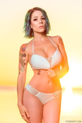 Gamer Girl swimwear photo shoot at sunrise
