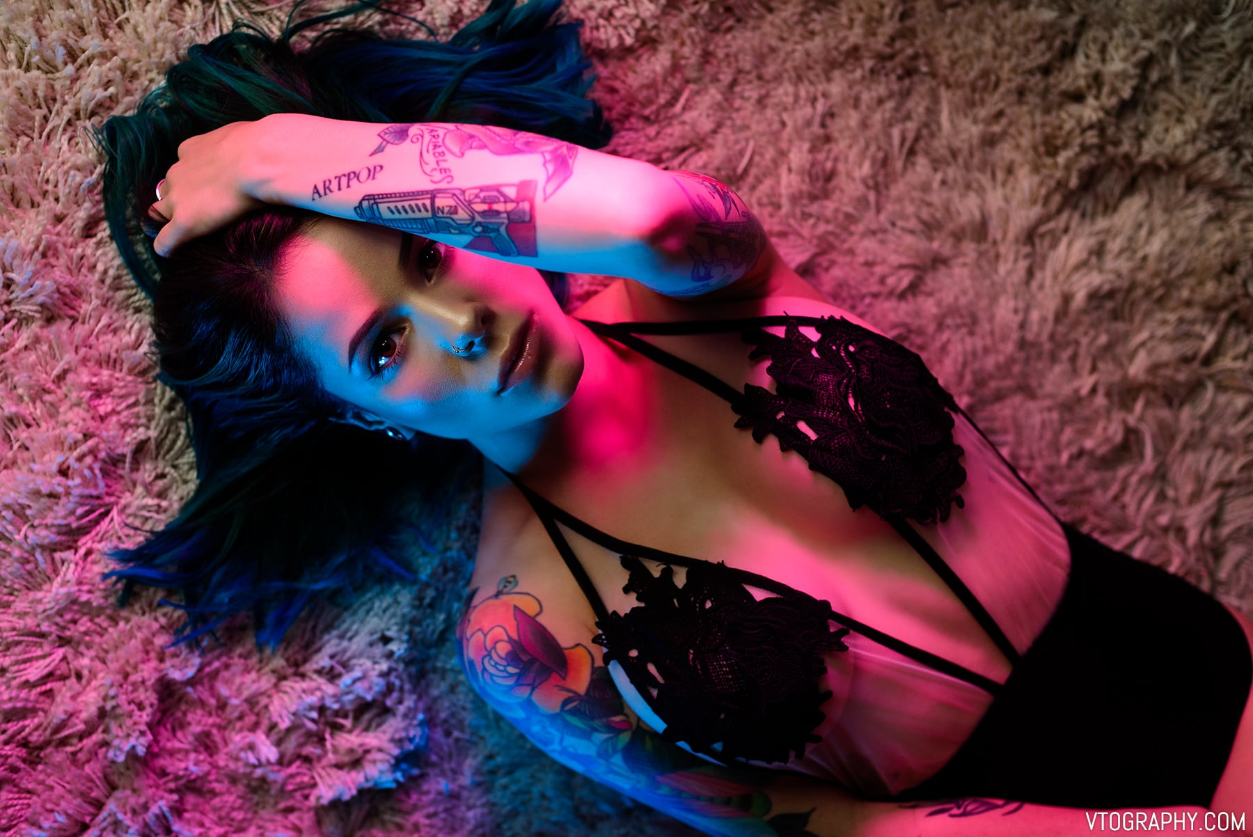 Cortana Blue photo shoot using LED panels
