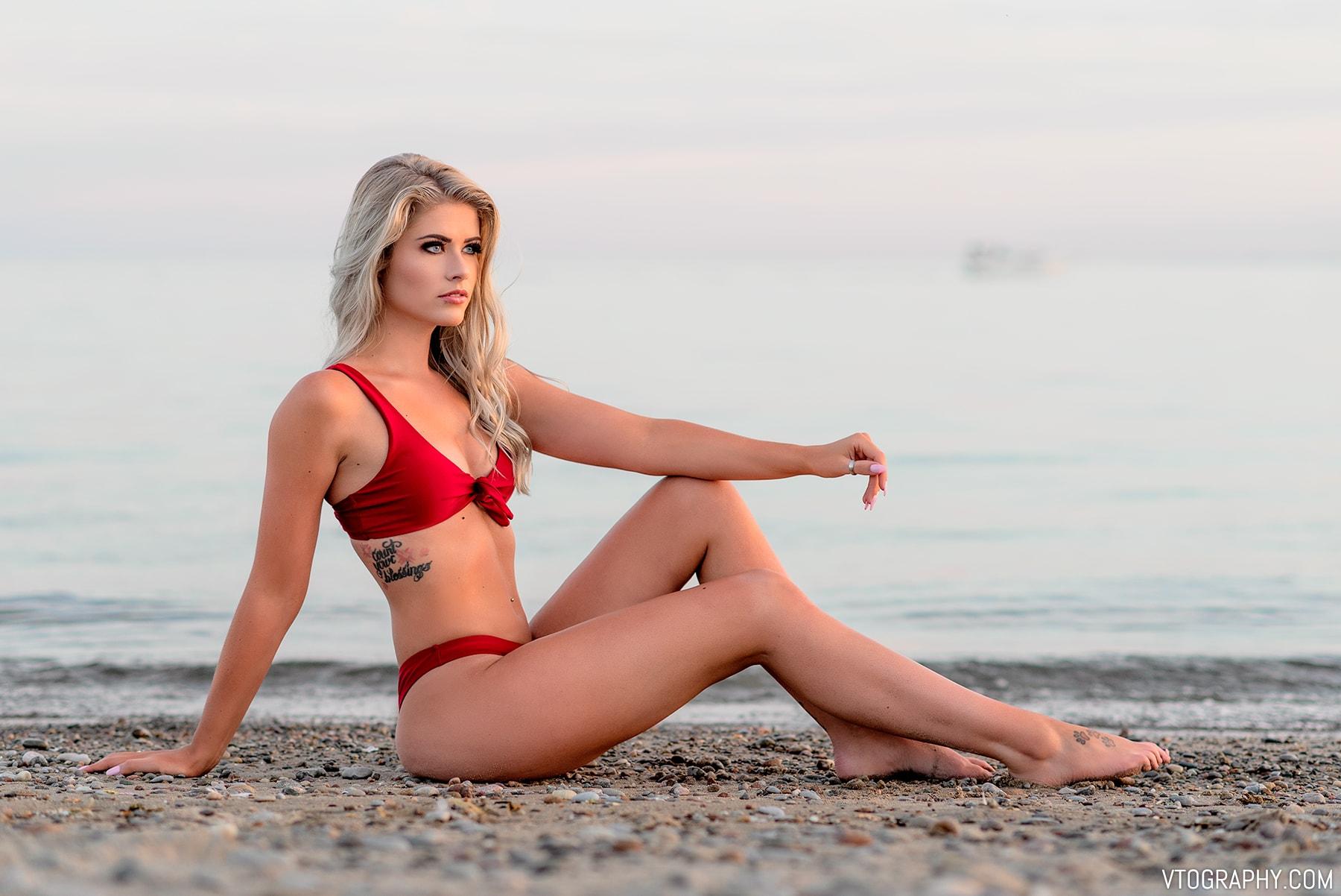 Zaful scrunch butt knotted thong tie-front red bikini (Summer 2018)