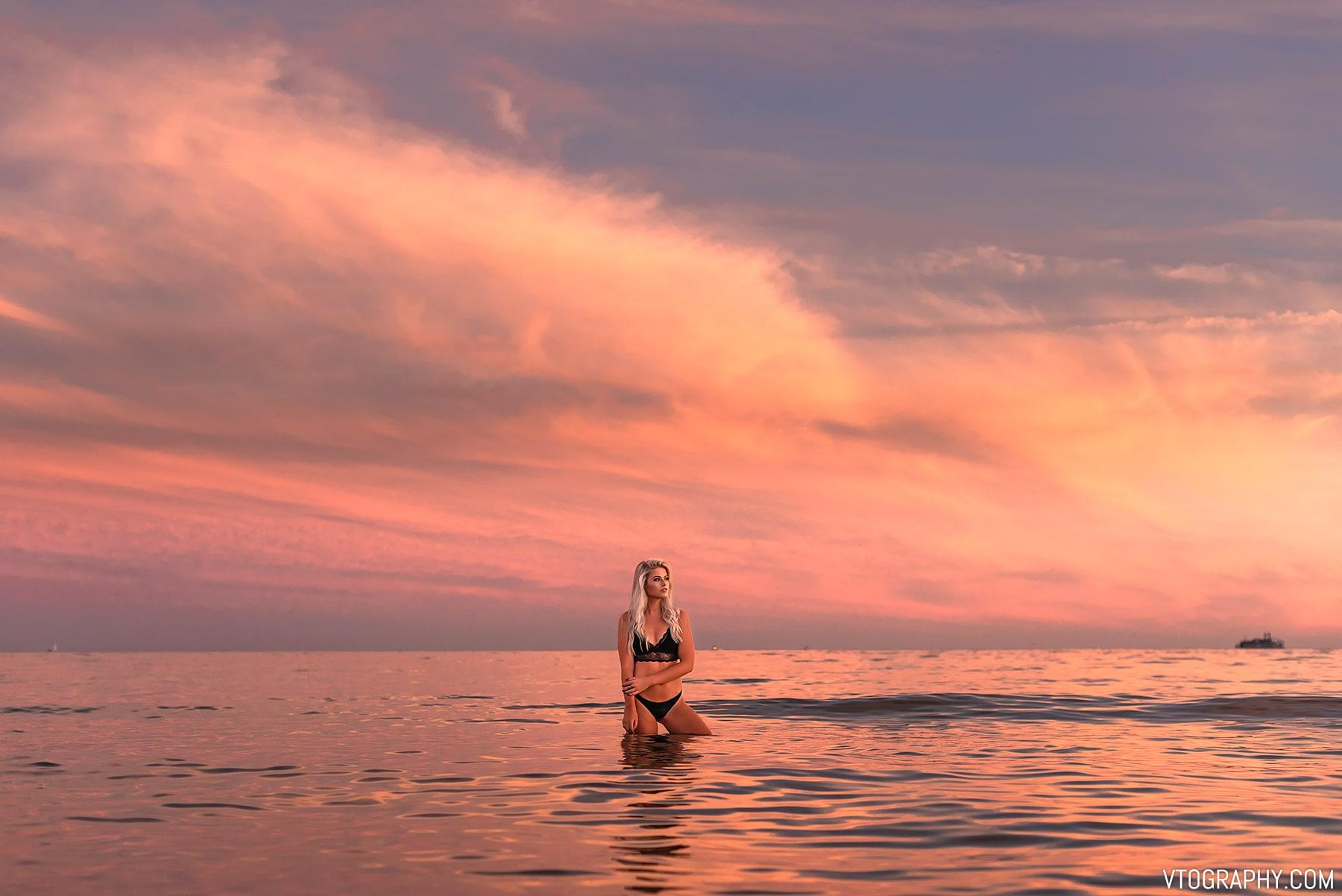Sami in a bikini at sunset