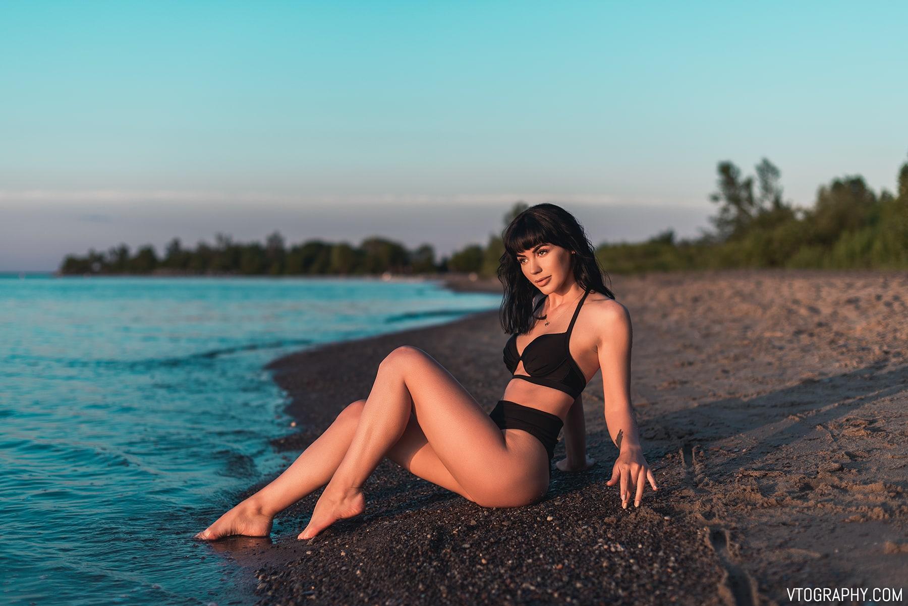 Black bikini on the beach