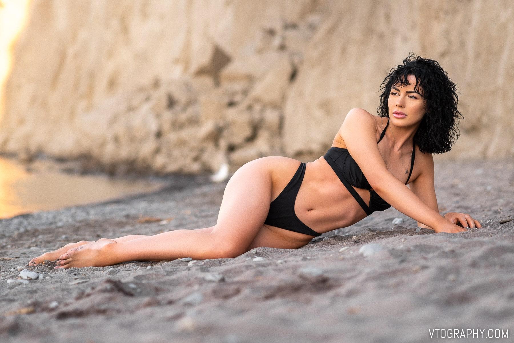 Black bikini photo shoot with Ashley Drew at the Scarborough Bluffs