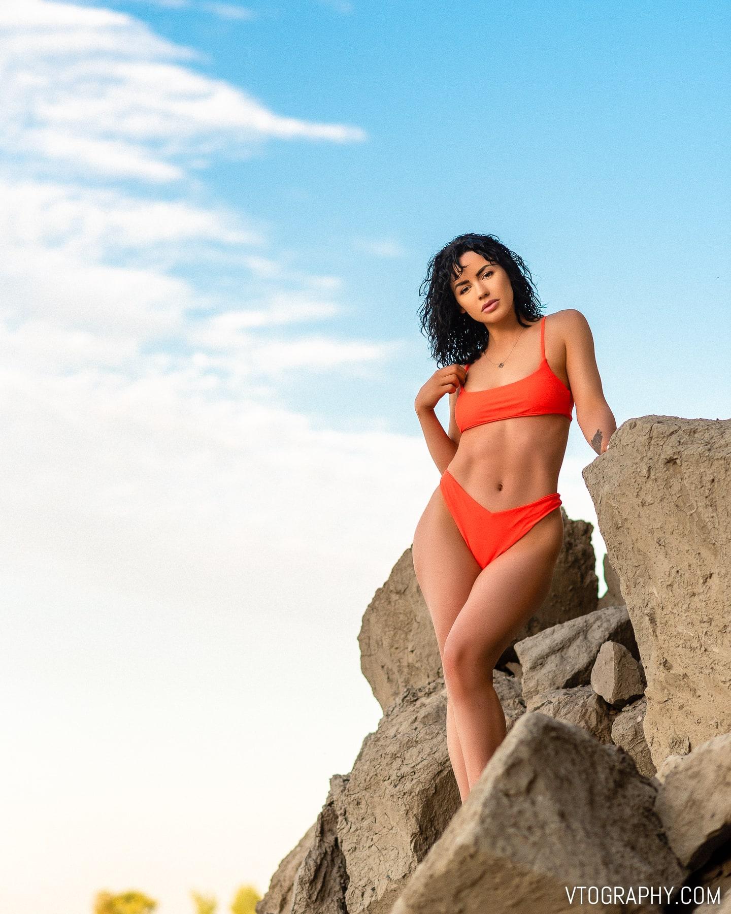 Scarborough Bluffs sunrise photo shoot with Ashley Drew wearing orange bikini