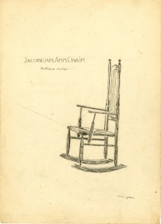 pencil drawing of a rocking chair