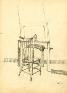 pencil drawing of a drafting table