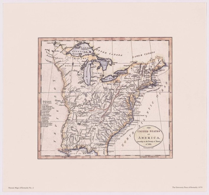 The United States of America According to the Treaty of Peace of 1784 (reproduction)