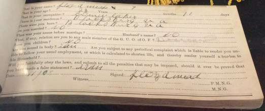 Odd Fellows Membership Book Entry for Floyd Meade, c. 1905