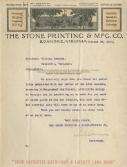 Letter from Stone Printing & Mrg. Co. (Roanoke), October 22, 1917