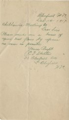 Handwritten order from Bluefield, WV, December 1917