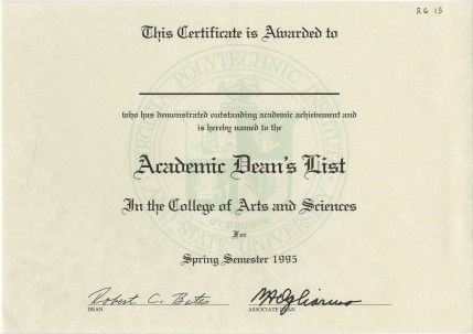 Blank form for the VT College of Arts & Sciences' Academic Dean's List