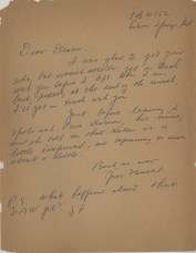 Letter, James T. Farrell to Eleanor Copenhaver Anderson, February 8, 1952
