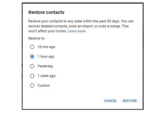 Cách khôi phục danh bạ đã xóa trên tài khoản Google - Ảnh 2.