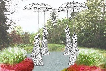 溫哥華公園局安置在女皇公園的愛情鎖雕塑9月7日舉行揭幕儀式,未來情侶吊掛的愛情鎖也將成為雕塑的一部份。(溫哥華公園局)
