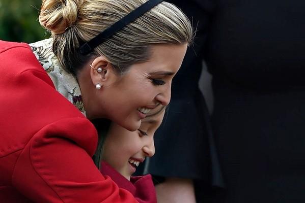 Ivanka Trump (L) hugs her daughter Arabella Rose Kushner before the turkey pardoning ceremony at the White House in Washington, DC on November 21, 2017. (ANDREW CABALLERO-REYNOLDS/AFP/Getty Images)