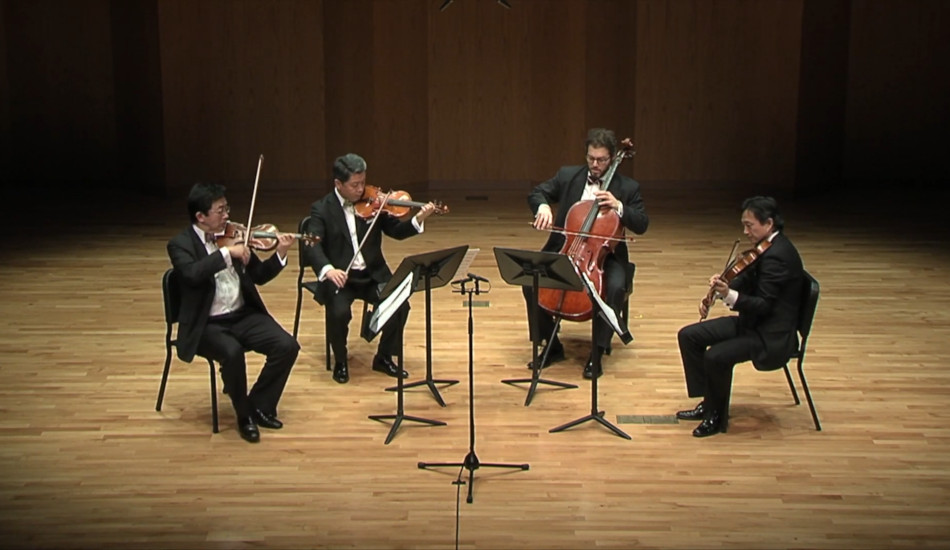 The Shanghai Quartet gives a performance.