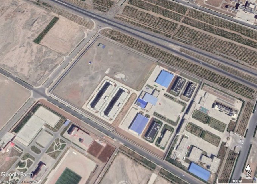 A satellite view of Turpan City Education Correction Center (42.955212°, 89.242028°) as found by researcher Shawn Zhang using Google Earth. Turpan was the Xinjiang area where Mulan was filmed. (Image: Google Earth)