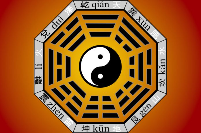 Illustration of the Chinese bagua or eight trigrams.