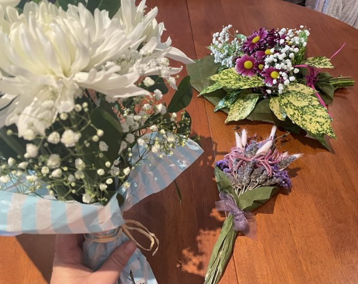 fresh flower and dried bouquets