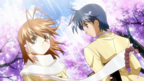 Nagisa and Tomoyo, characters from the Japanese anime, 'CLANNAD'.