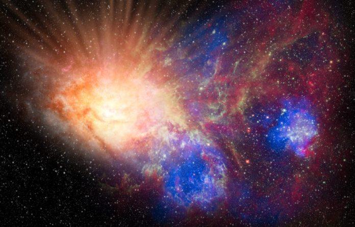 Combined NASA images simulating the idea of the Big Bang.
