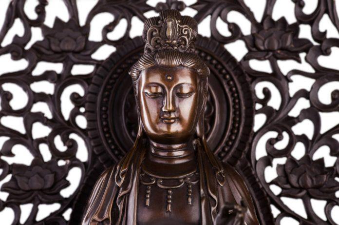 A statue of Bodhisattva Guan Yin.