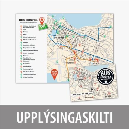 Upplýsingaskilti og póstkort fyrir Bus Hostel