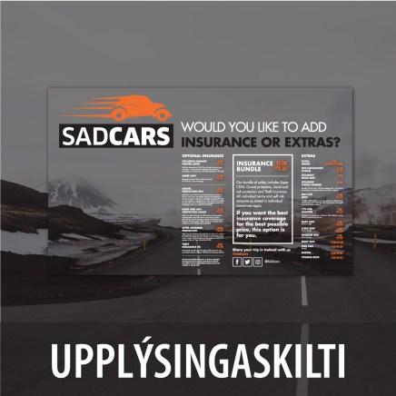 Upplýsingaskilti fyrir Sadcars