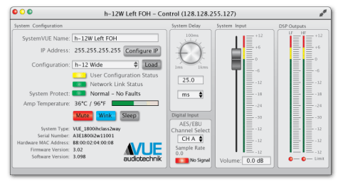 The h-12 control window in the SystemVUE software enables easy set-up, optimization and monitoring