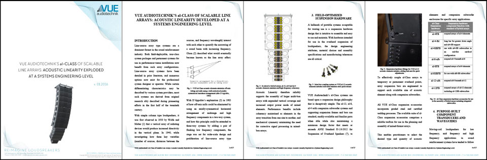 White Paper: VUE al-CLASS OF SCALABLE LINE ARRAYS: ACOUSTIC LINEARITY DEVELOPED AT A SYSTEMS ENGINEERING LEVEL (PDF)