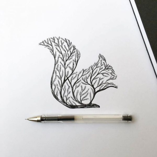 Animal Pen and Ink Drawings of Trees