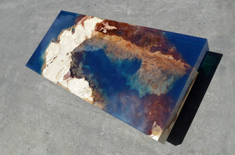 Ocean Coffee Tables Made Out Of Natural Stone And Resin