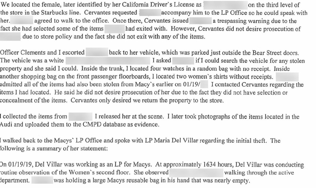 shows a police report of a person caught shoplfiting