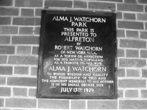 Alma J Watchorn Park Alfreton Dedication