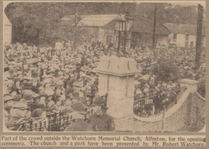 Photograph of the Crowd outside the Watchorn Memorial Church, Alfreton 1929
