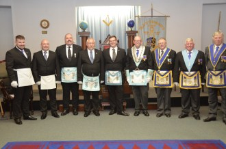 Members of Vulcan Lodge, with Old St, Edwards Lodge 5162